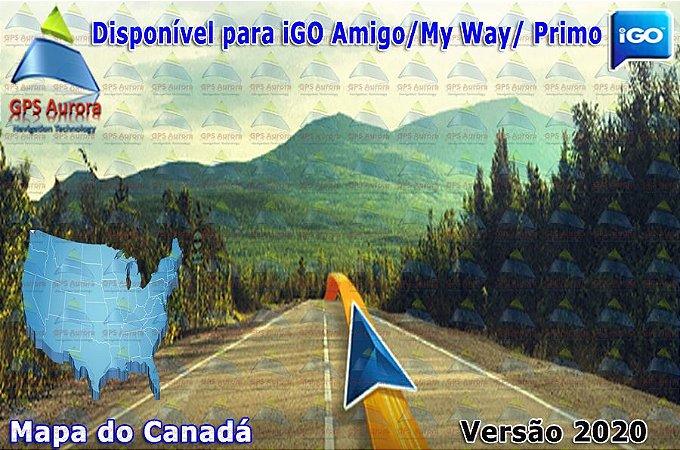 Atualização iGO para GPS ou Cartão - Mapa do Canadá 2020 + POIS