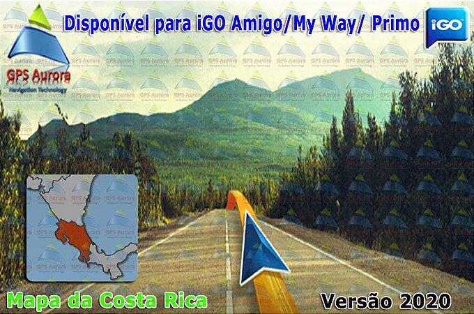 Atualização iGO para GPS ou Cartão - Mapa da Costa Rica 2020 + POIS