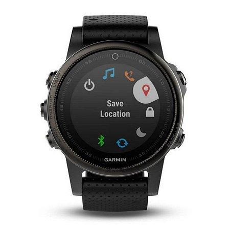 Relógio Multiesportivo Garmin Fenix 5S Vidro em Safira Preto com Monitor Cardíaco no Pulso