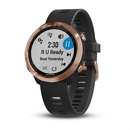 Relógio Garmin Forerunner 645 Music Ouro Rosê com Monitor Cardíaco+GPS e Garmin Pay