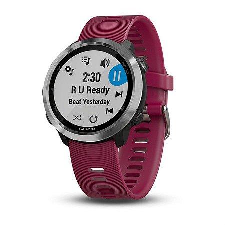Relógio Garmin Forerunner 645 Music Pulseira Cereja com Monitor Cardíaco+GPS e Garmin Pay
