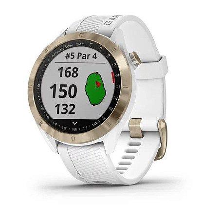 Relógio Garmin Approach S40 Branco com Ouro e Centenas de Funções para Golf + GPS Integrado