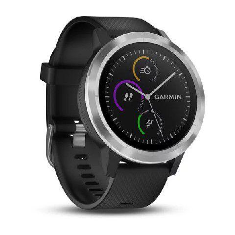 Relógio Garmin VivoActive 3 Prata com Pulseira Preta e Monitor Cardíaco+GPS+Glonass com Garmin Pay