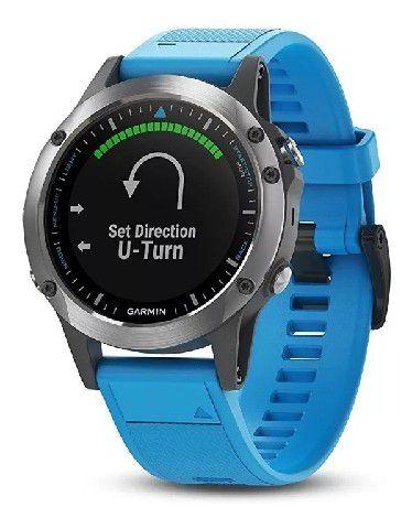 Relógio Multiesportivo Náutico Garmin Quatix 5 Azul com Monitor Cardíaco no Pulso