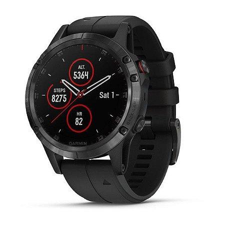 Relógio Multiesportivo Garmin Fenix 5 Plus Preto em Vidro de Safira com Monitor Cardíaco e Pay no Pulso