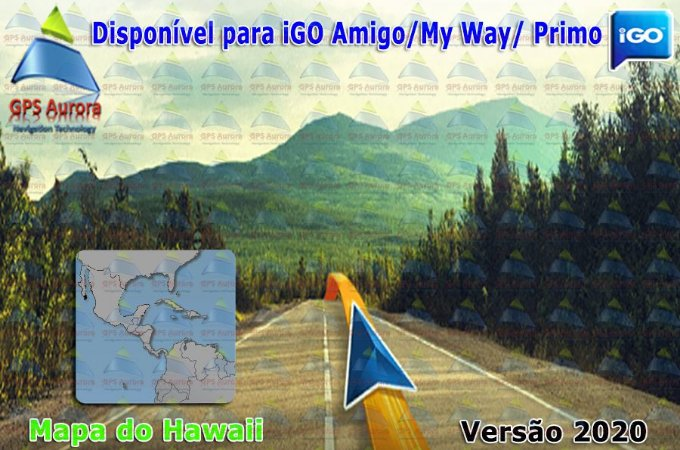 Atualização iGO para GPS ou Cartão - Mapa do Hawaii 2020 + POIS