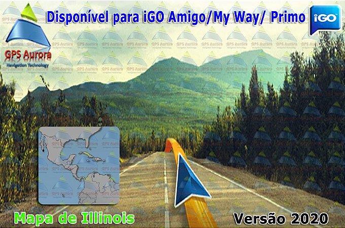 Atualização iGO para GPS ou Cartão - Mapa de Illinois 2020 + POIS
