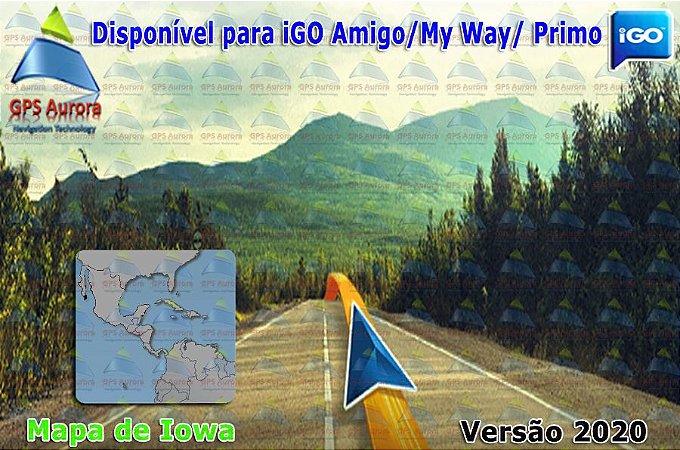 Atualização iGO para GPS ou Cartão - Mapa de Iowa 2020 + POIS