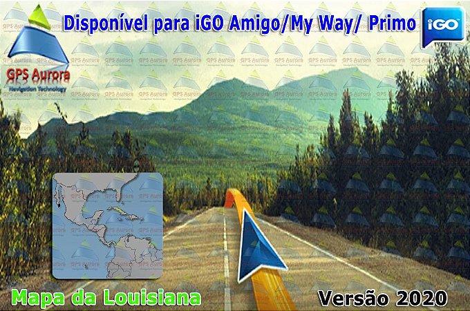 Atualização iGO para GPS ou Cartão - Mapa da Louisiana 2020 + POIS