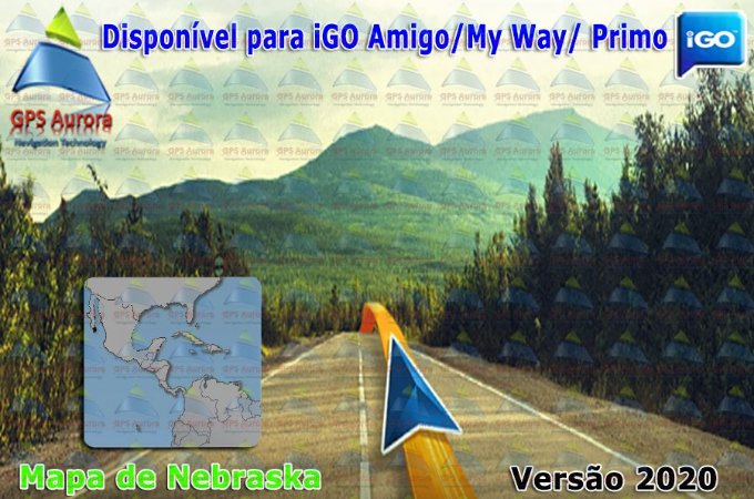 Atualização iGO para GPS ou Cartão - Mapa de Nebraska 2020 + POIS