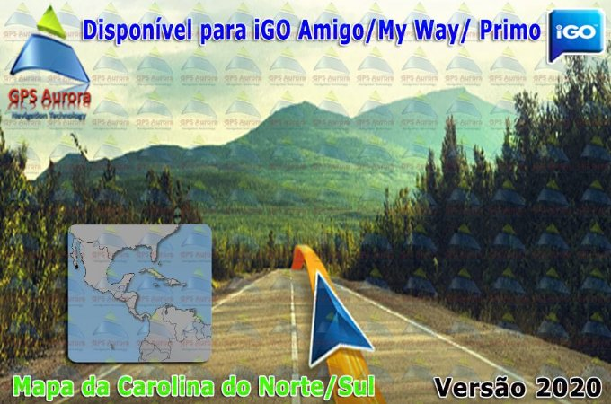 Atualização iGO para GPS ou Cartão - Mapa da Carolina do Norte+Sul 2020 + POIS