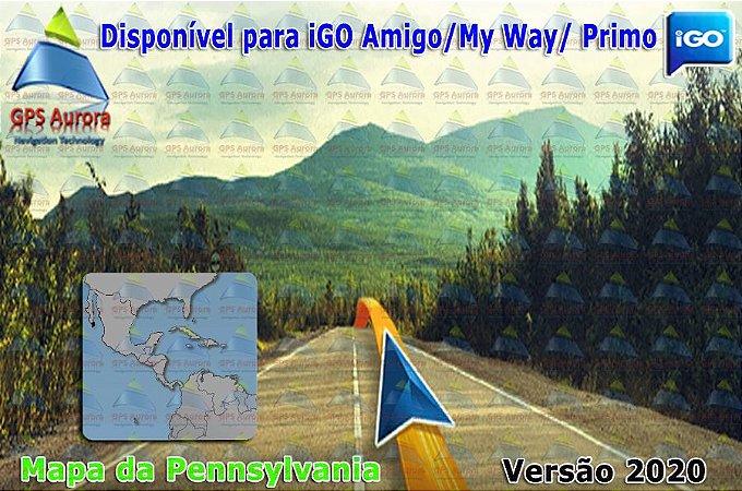Atualização iGO para GPS ou Cartão - Mapa da Pennsylvania 2020 + POIS