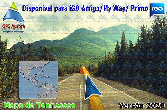 Atualização iGO para GPS ou Cartão - Mapa do Tennessee 2020 + POIS