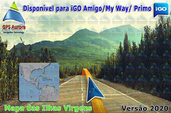 Atualização iGO para GPS ou Cartão - Mapa da Ilhas Virgens 2020 + POIS