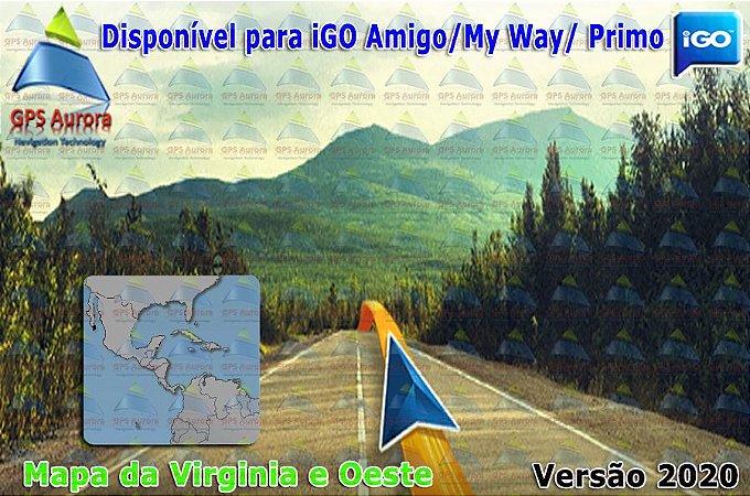 Atualização iGO para GPS ou Cartão - Mapa da Virginia e Oeste 2020 + POIS