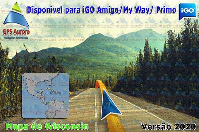 Atualização iGO para GPS ou Cartão - Mapa de Wisconsin 2020 + POIS