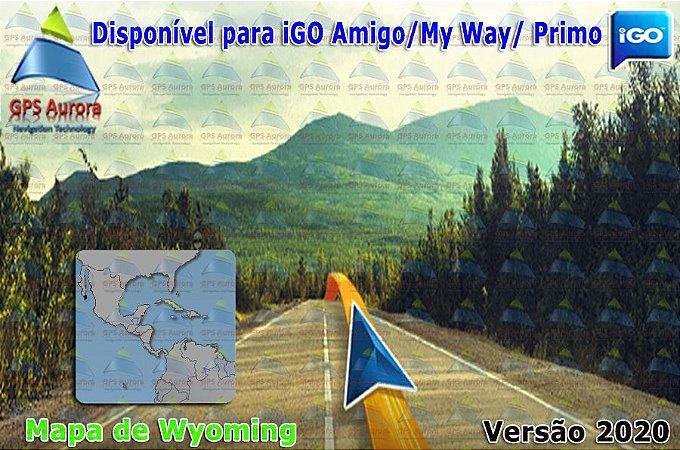 Atualização iGO para GPS ou Cartão - Mapa de Wyoming 2020 + POIS