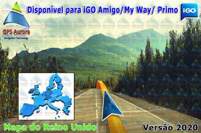 Atualização iGO para GPS ou Cartão - Mapa do Reino Unido 2020 + POIS