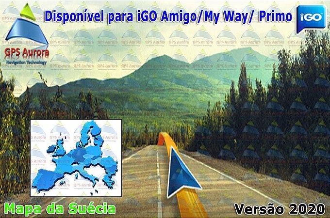 Atualização iGO para GPS ou Cartão - Mapa da Suécia 2020 + POIS