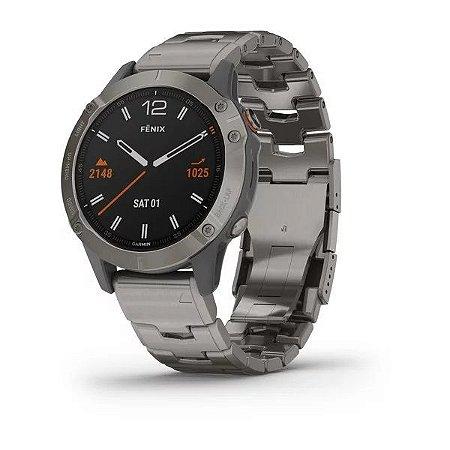 Relógio Multi Esportivo Garmin Fenix 6 Safira com Pulseira em Titânio Ventilado + Wifi+Monitor Cardíaco e Pagamentos