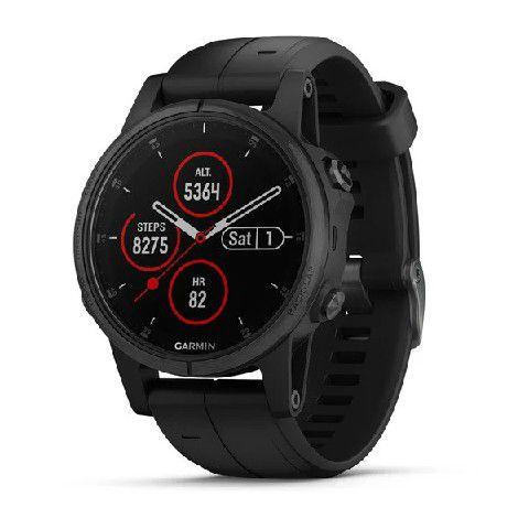 Relógio Multiesportivo Garmin Fenix 5S Plus Preto com Monitor Cardíaco e Pay no Pulso