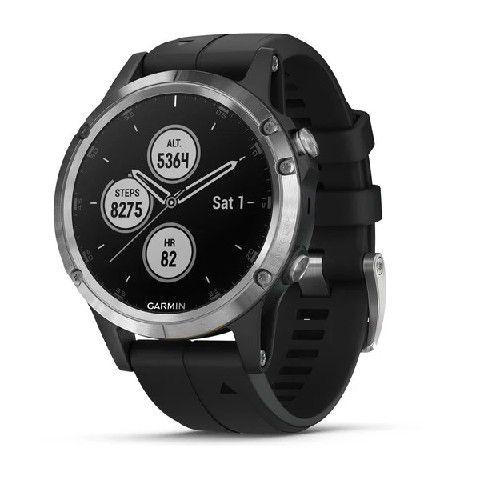 Relógio Multiesportivo Garmin Fenix 5 Plus Prata em Vidro de Safira com Monitor Cardíaco e Pay no Pulso