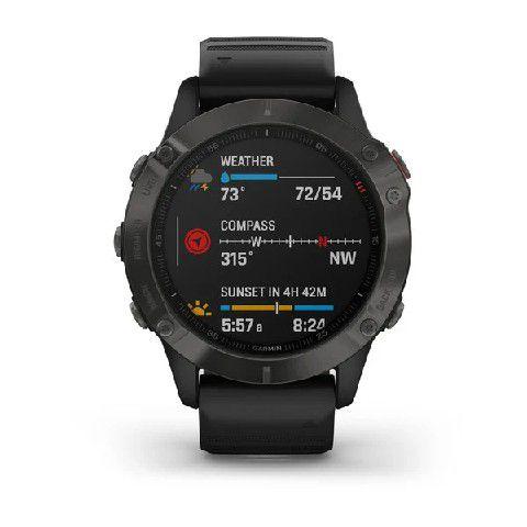 Relógio Multi Esportivo Garmin Fenix 6 PRO Solar em Carbono com Pulseira Preta vidro PowerGlass + Monitor Cardíaco e Pagamentos