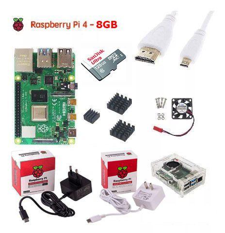 Kit Raspberry Pi 4B 8GB + Case Oficial com Dissipador e Cooler + Fonte + Cabo e adaptador mIni HDMI e Micro SD 128GB