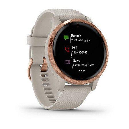 Relógio Garmin VENU Rosa Dourado com Cinza e Monitor Cardíaco+GPS Glonass e Oximetro + Altimetro Barometrico com Garmin Pay