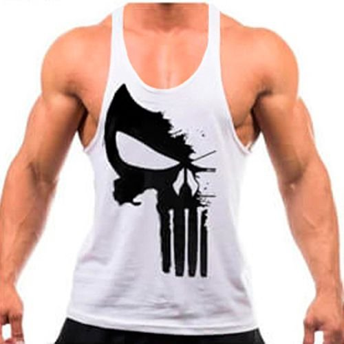Regata cavada Musculação Fitness Justiceiro branca