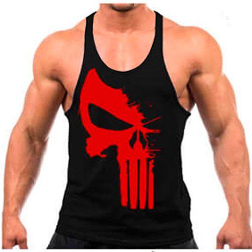 fe451a383 Regata cavada preta Justiceiro vermelho - Fabrica Mundo Fitness