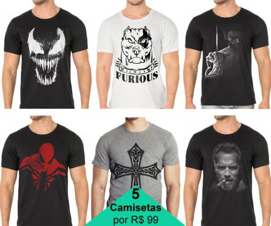 Pacote com 5 Camisetas - Escolha os modelos !