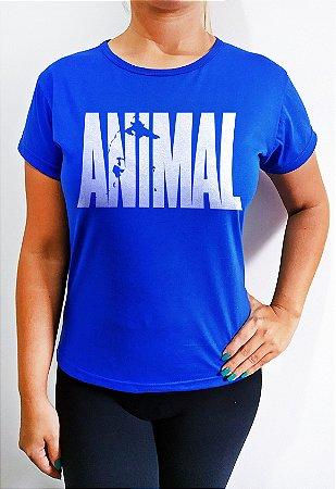 Baby Look feminina Azul Animal