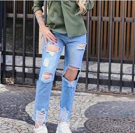 Calça Jeans Destroyed Mom