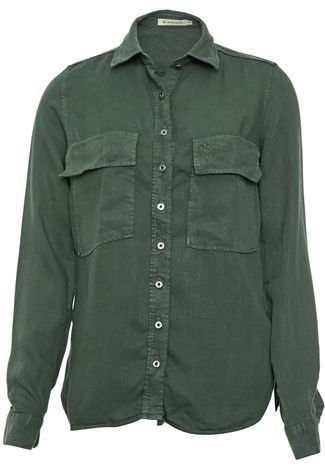 Camisa Sarja Dudalina Bolsos Verde