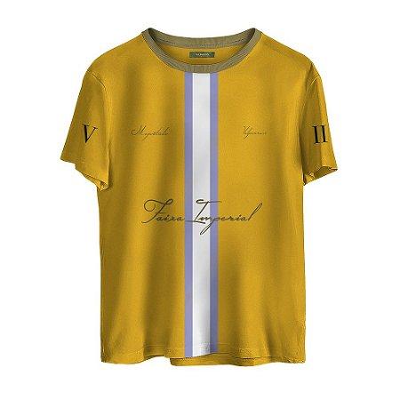 Camiseta Masculina Valparroci Faixa Imperial 'Majestade 17' Amarela