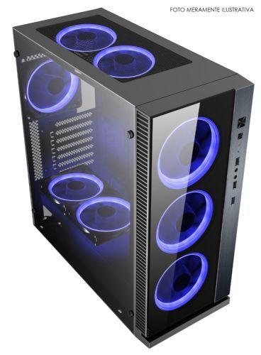 Gabinete Pc Gamer Nfx Dark Raptor Preto - SEM FONTE e COOLERS AZUL