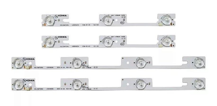 Conjunto Completo de Barras Led Tv Semp Toshiba Dl3245i Konka Kdl32mt626u Kit com 4x Peças