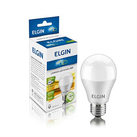 Lâmpada LED Bulbo Elgin E27 10W A60 Branco Morno 2700k Bi