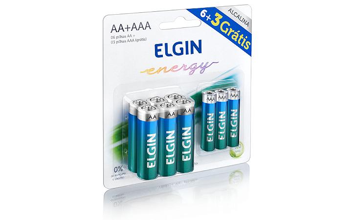 Pilha AA/AAA Alcalina Elgin 1,5V Kit c/ 6 un. AA + 3 un. AAA