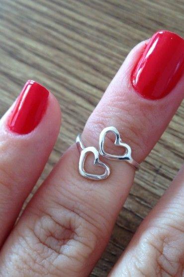 Anel de Falange 2 corações vazados - Prata de Lei 925
