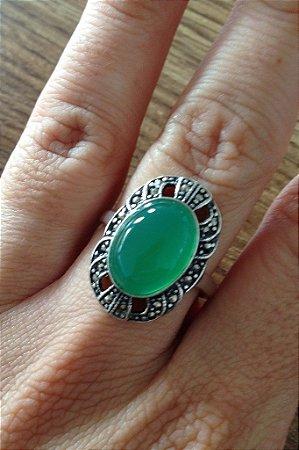 Anel Luxo Pedra Verde - Prata de Lei 925