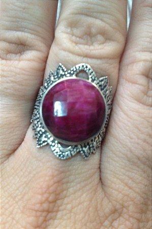 Anel Pedra Natural Pink - Prata Turca