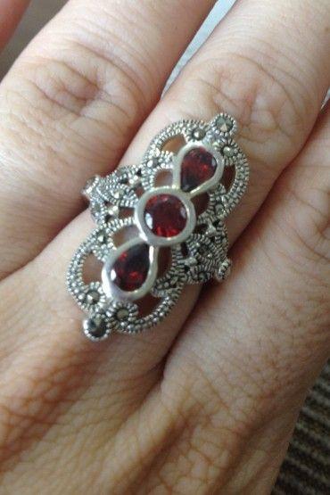 Anel Pedra Vermelha - Prata de Lei 925