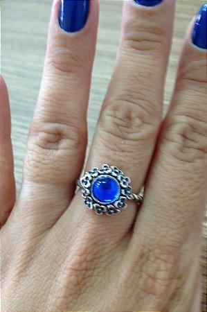 Anel de Flores com Pedra Azul - Prata de Lei 925