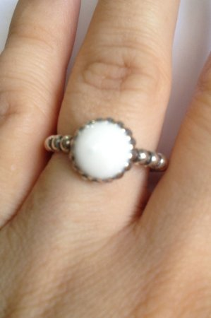Anel Pedra Branca - Prata de Lei 925