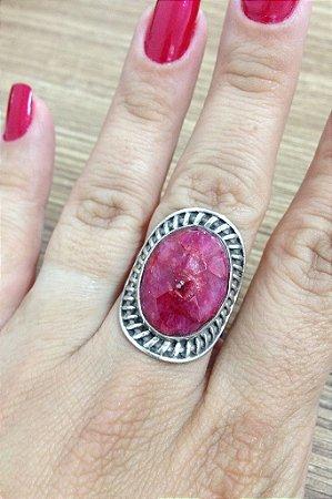 Anel Pedra Pink - Prata de Lei 925