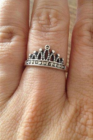 Anel de Coroa com Marcassita - Prata de Lei 925