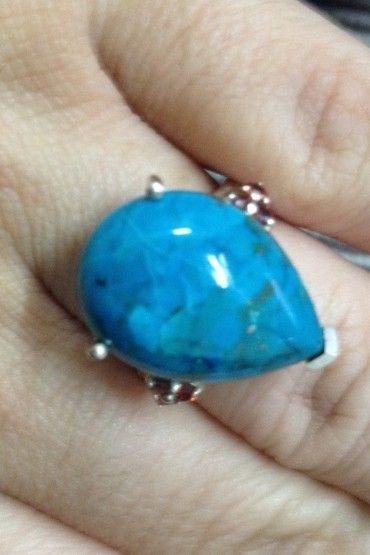 Anel Gota Pedra Turquesa - Prata de Lei 925