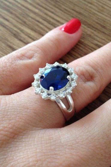 Anel Princesa Pedra Azul - Prata de Lei 925
